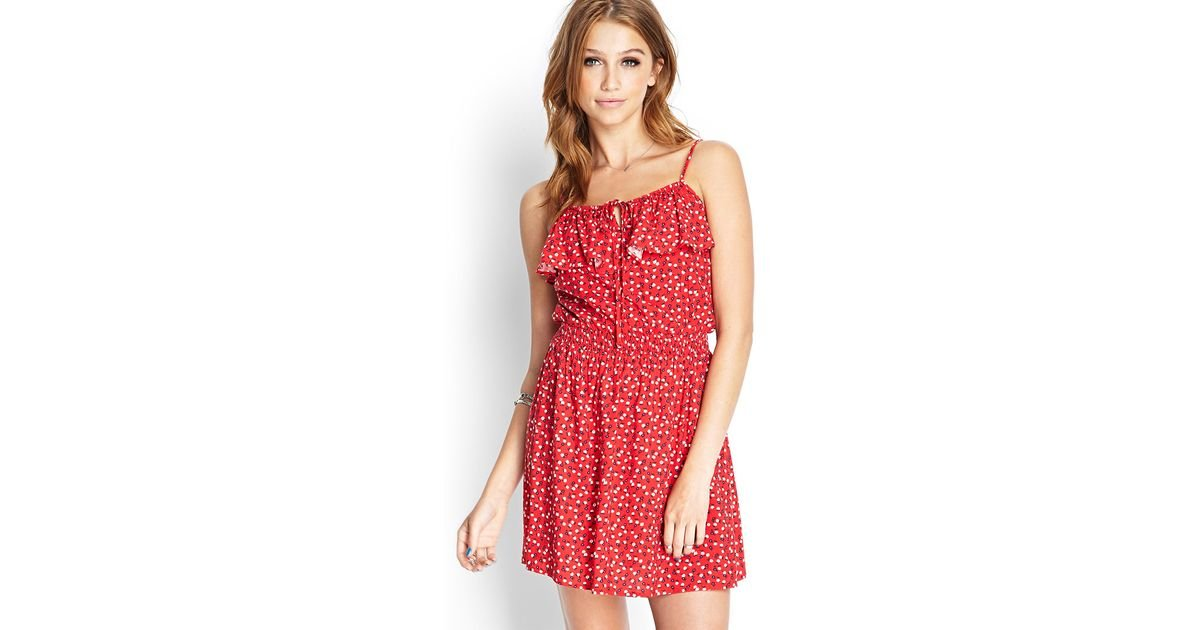 2f43b0d2cf5 Forever 21 Floral Print Flounce Dress in Red - Lyst