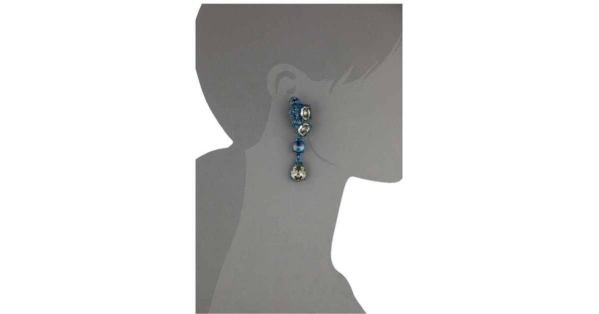 a0b2064c51cd Lyst - Oscar De La Renta Asymmetrical Crystal C Earrings in Blue