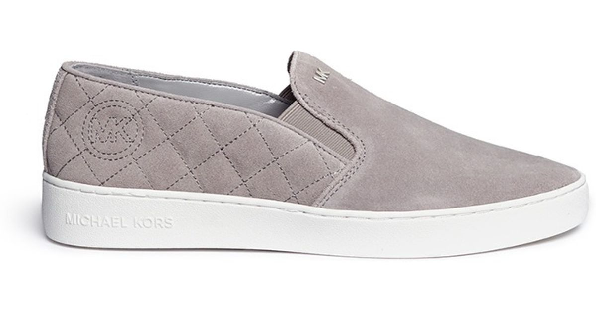 6ef39023abc0 Lyst - Michael Kors  keaton  Quilted Suede Skate Slip-ons in Gray