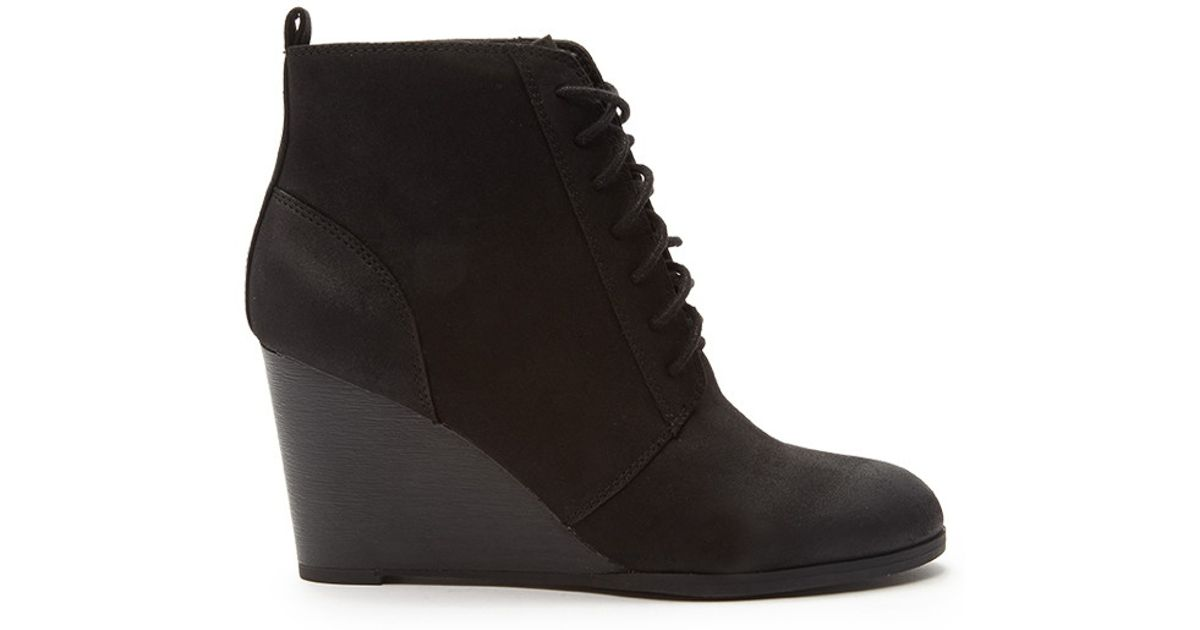 forever 21 laceup wedge booties in black lyst