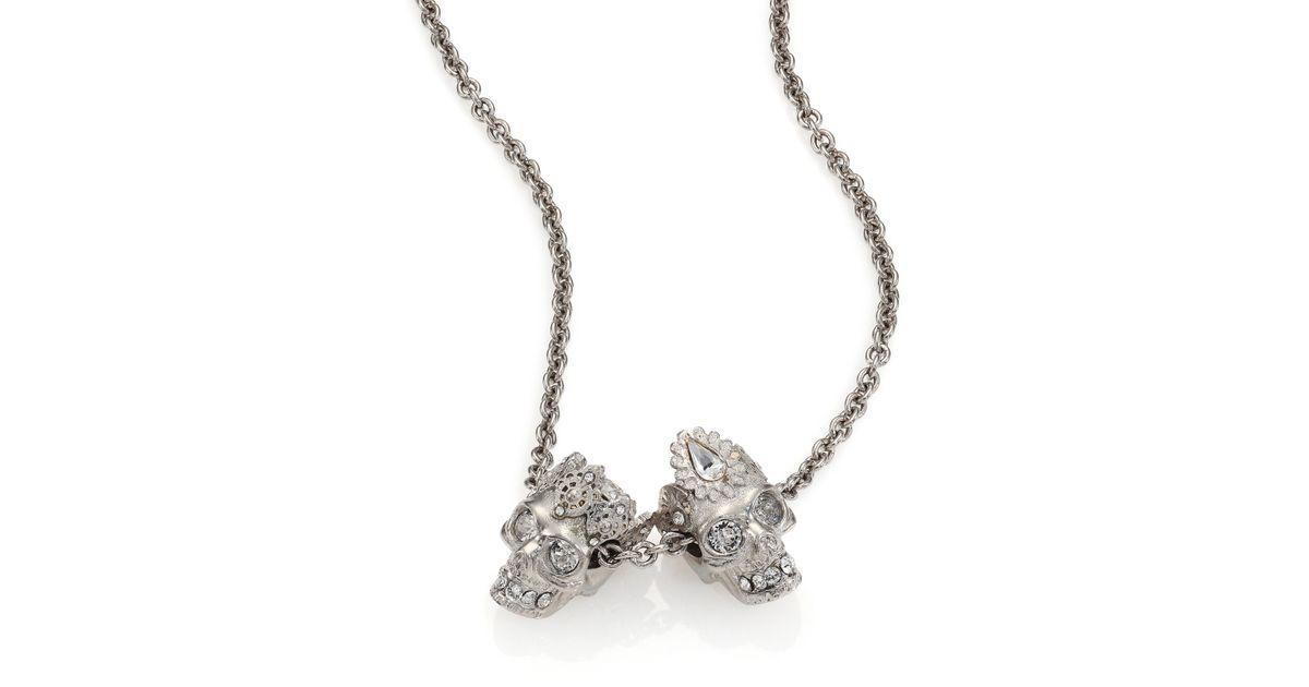 66d2f8c724173c Lyst Alexander Mcqueen King Queen Skull Pendant Necklace In Metallic