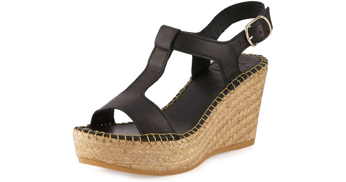 andre assous lemon leather wedge sandal in black lyst