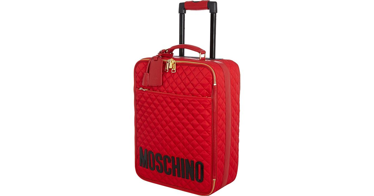 353e5ad1393 Moschino Two-Wheeled Trolley Case in Red - Lyst