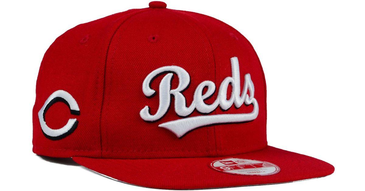 buy popular f27f0 06d22 ... order lyst ktz cincinnati reds xl script 9fifty snapback cap in red for  men e0baa b95f0