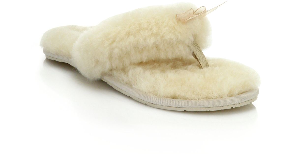ef05e7787c6 Lyst - UGG Shearling Thong Slippers in White