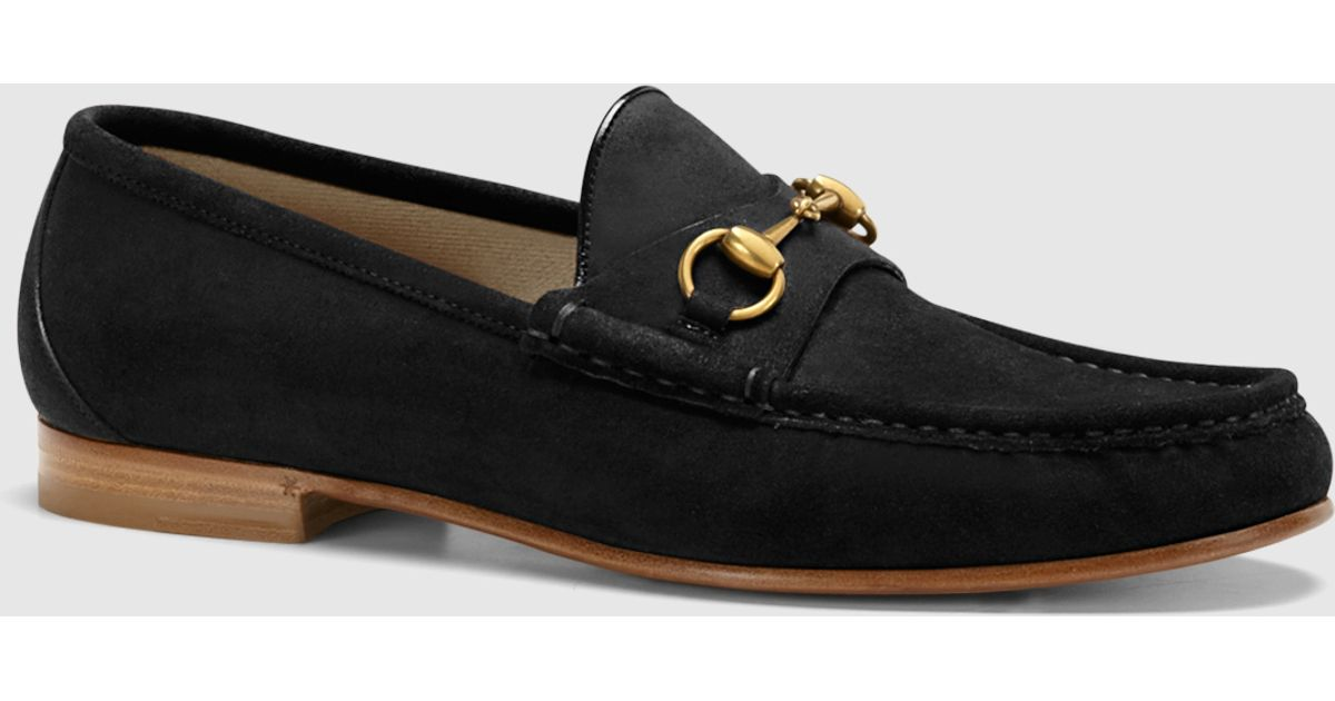 2f49bf791e4 Lyst - Gucci 1953 Horsebit Loafer In Suede in Black for Men