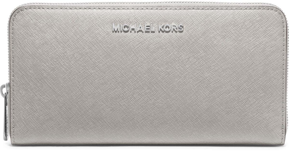 lyst michael kors jet set travel saffiano leather continental rh lyst com michael kors saffiano wallet pearl grey