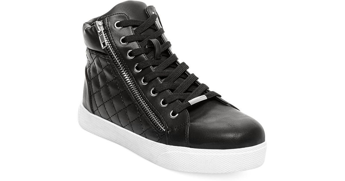 e0aed562daa Lyst - Steve Madden Decaf Hightop Quilted Platform Sneakers in Black
