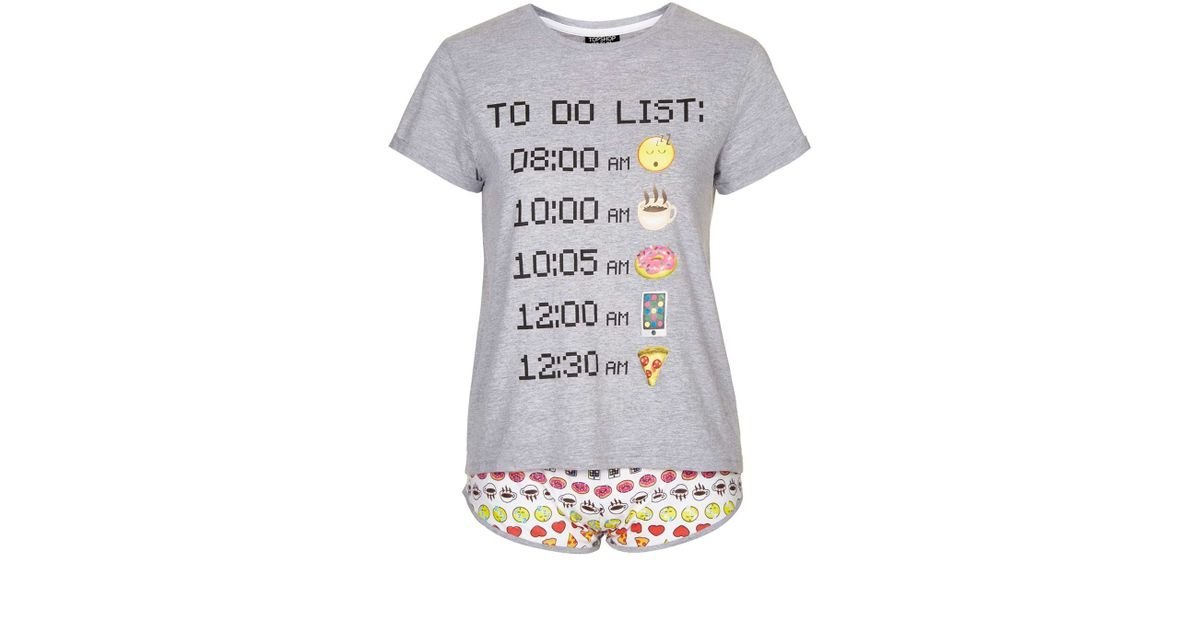 TOPSHOP - Gray Emoticons To Do List Pj Set - Lyst