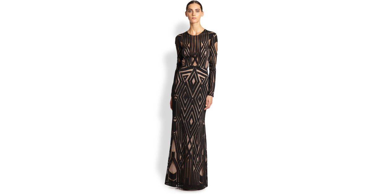 681a21e1df6 BCBGMAXAZRIA Viera Engineered Lace Gown in Black - Lyst