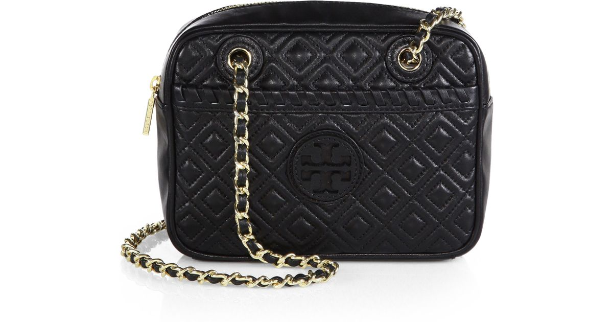 Tory Burch Marion Quilted Crossbody Bag In Black Lyst