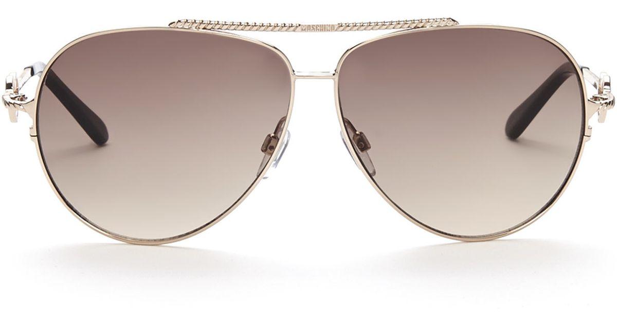 6265a7398d3a1 Moschino Mo53804S Gold-Tone Xl Aviator Sunglasses in Metallic - Lyst
