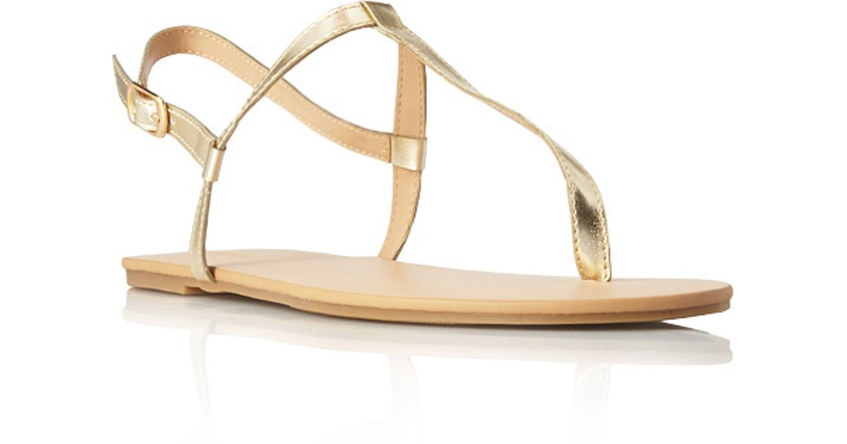6c1eee9500964 Forever 21 Favorite T-Strap Sandals in Metallic - Lyst