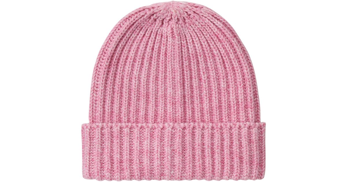 7174cc4e64d19 Lyst - Uniqlo Heattech Knitted Cap in Pink