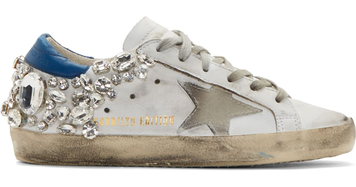 e2b17456db9e Golden Goose Deluxe Brand White Studded Swarovski Edition Superstar  Sneakers in White - Lyst