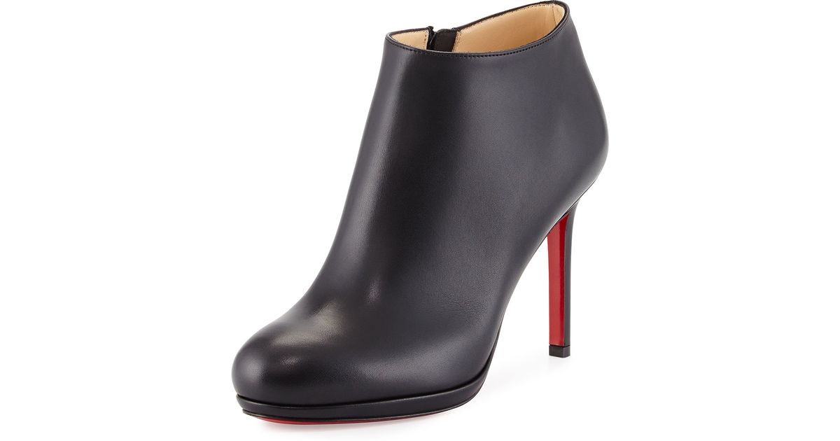 Lyst - Christian Louboutin Bella Top Leather Red Sole Bootie in Black 2bc233f45