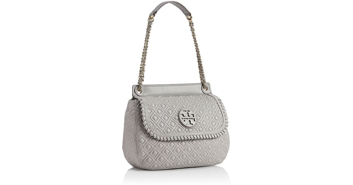 Tory burch Marion Quilted Saddle Bag in Gray   Lyst : tory burch marion quilted saddle bag - Adamdwight.com