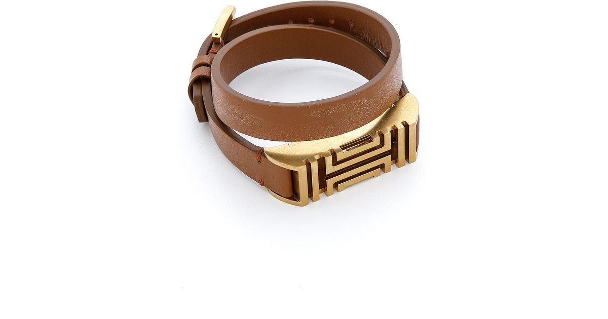 9ef8de87a03 Lyst - Tory Burch For Fitbit Fret Double Wrap Bracelet - Bark Aged Gold in  Brown