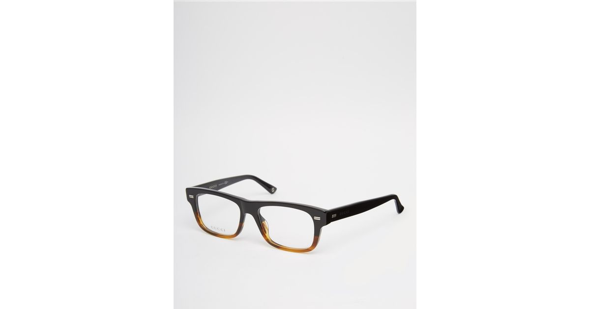 Gucci Square Clear Lens Glasses In Tort in Brown for Men ...