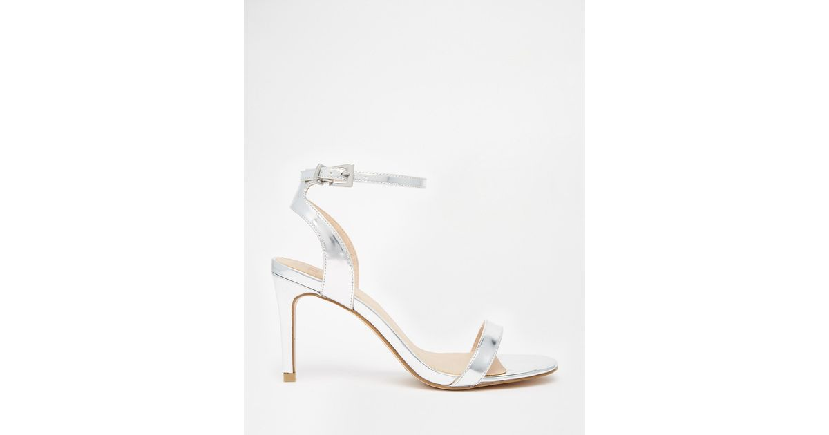 Asos Hooray Wide Fit Heeled Sandals in Metallic | Lyst