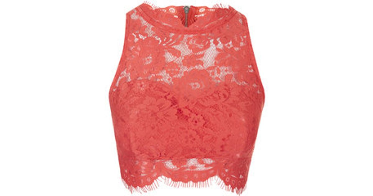 8d3f8cb2ef582f Lyst - TOPSHOP Lace High Neck Crop Top in Red