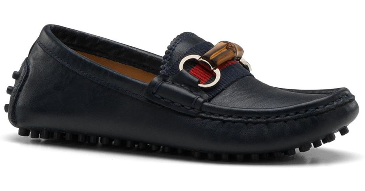 c54c6729b641 Lyst - Gucci Kids Leather Driver Loafers in Blue for Men