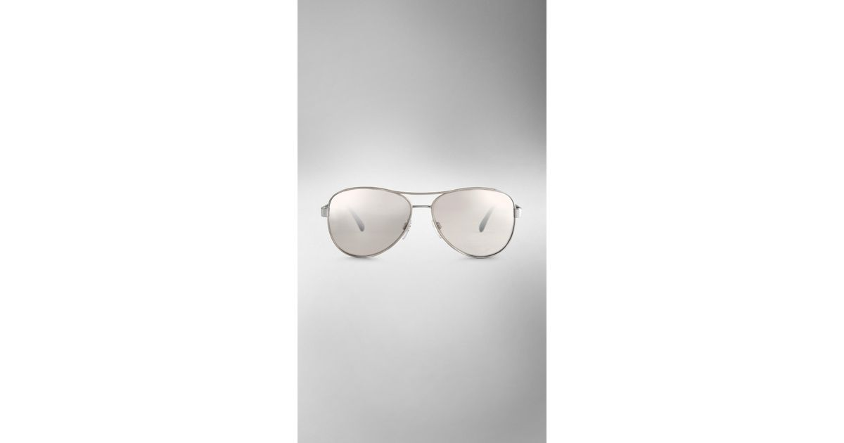 659f5f5e70be Burberry Check Arm Aviator Sunglasses in Metallic - Lyst