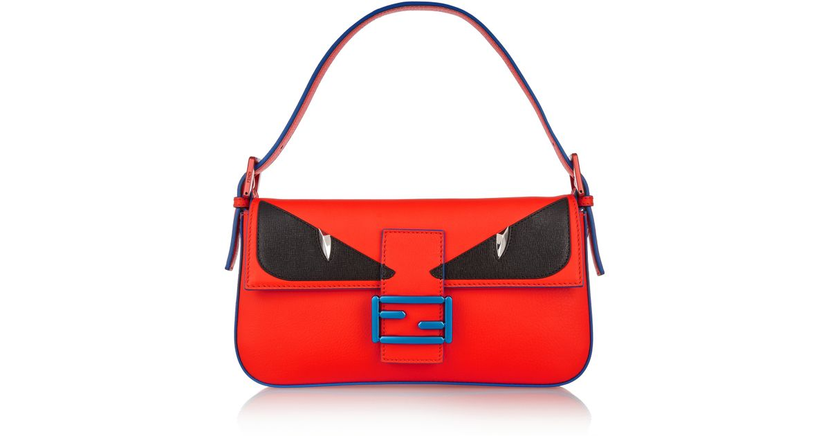 australia fendi bag bugs baguette leather shoulder bag in orange lyst 5ec20  2fd7c bde9fadb6b7f6