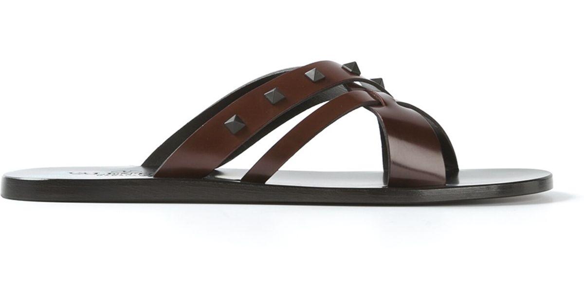 b179da3df278 Lyst - Valentino Studded Flip Flops in Brown for Men