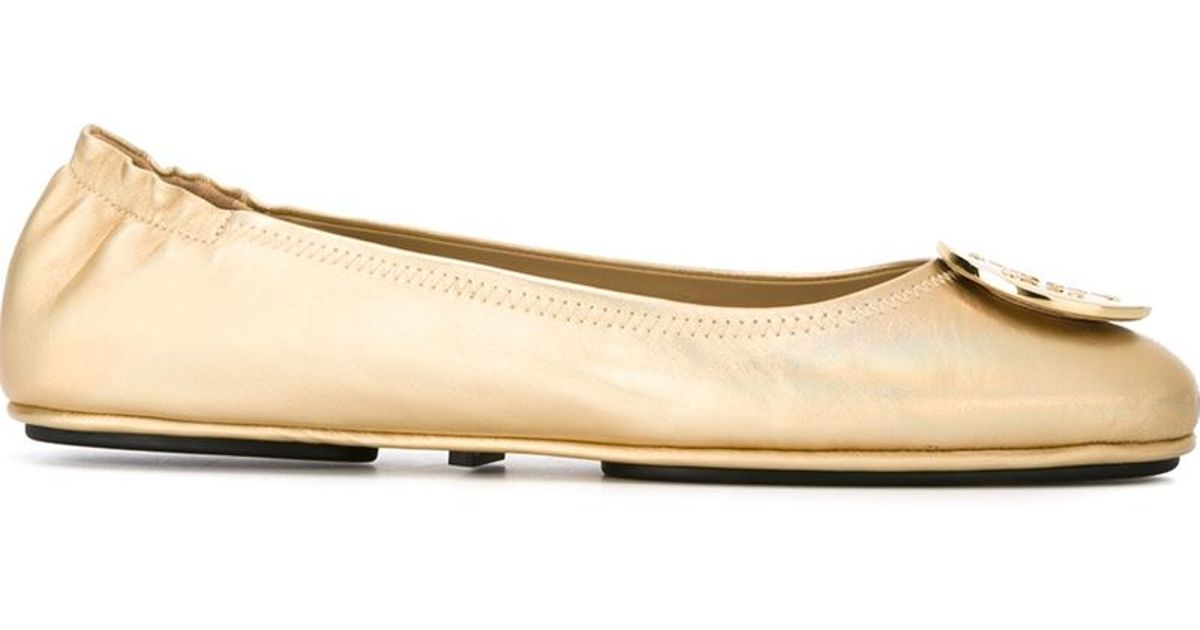 Tory Burch Logo Minnie Travel Ballet Flats In Natural  Lyst