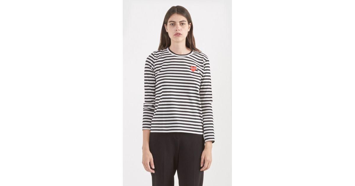 d3db3cb3a918 Lyst - Play Comme des Garçons Striped T-shirt in Black