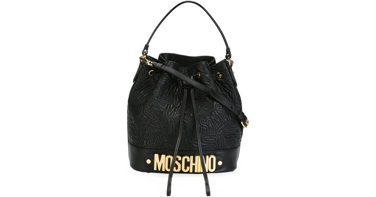 61578b5a6008a Lyst - Moschino Logo Embossed-Leather Bucket Bag in Black