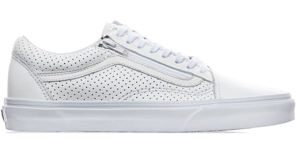b55fdc3c6d3a Vans Old Skool Zip Perforated Leather Sneakers in White for Men - Lyst