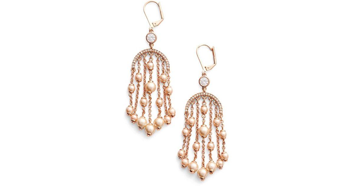 Lyst Kate Spade New York Pearls Of Wisdom Chandelier Earrings Blush Multi In Metallic
