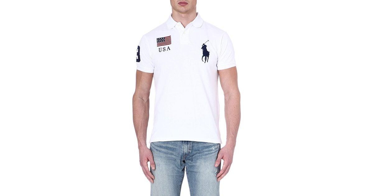 f35f598203c3 ... good ralph lauren custom fit flag polo shirt for men in white for men  lyst cd6cb