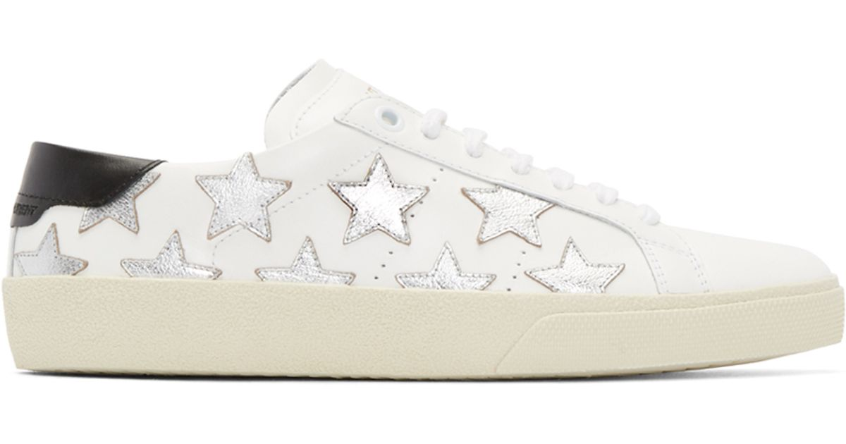 ebd3af031e0 Saint Laurent White & Silver Stars Court Classic Sneakers in White - Lyst