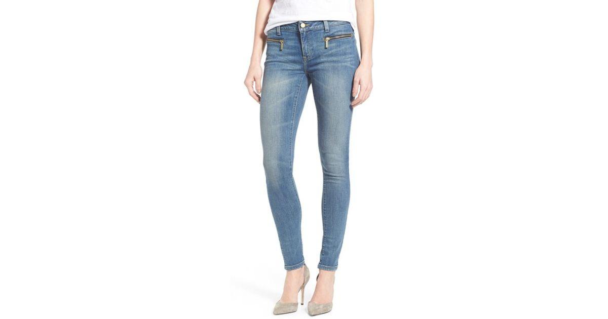 d13976e5f94a MICHAEL Michael Kors 'izzy' Zip Pocket Skinny Jeans in Blue - Lyst