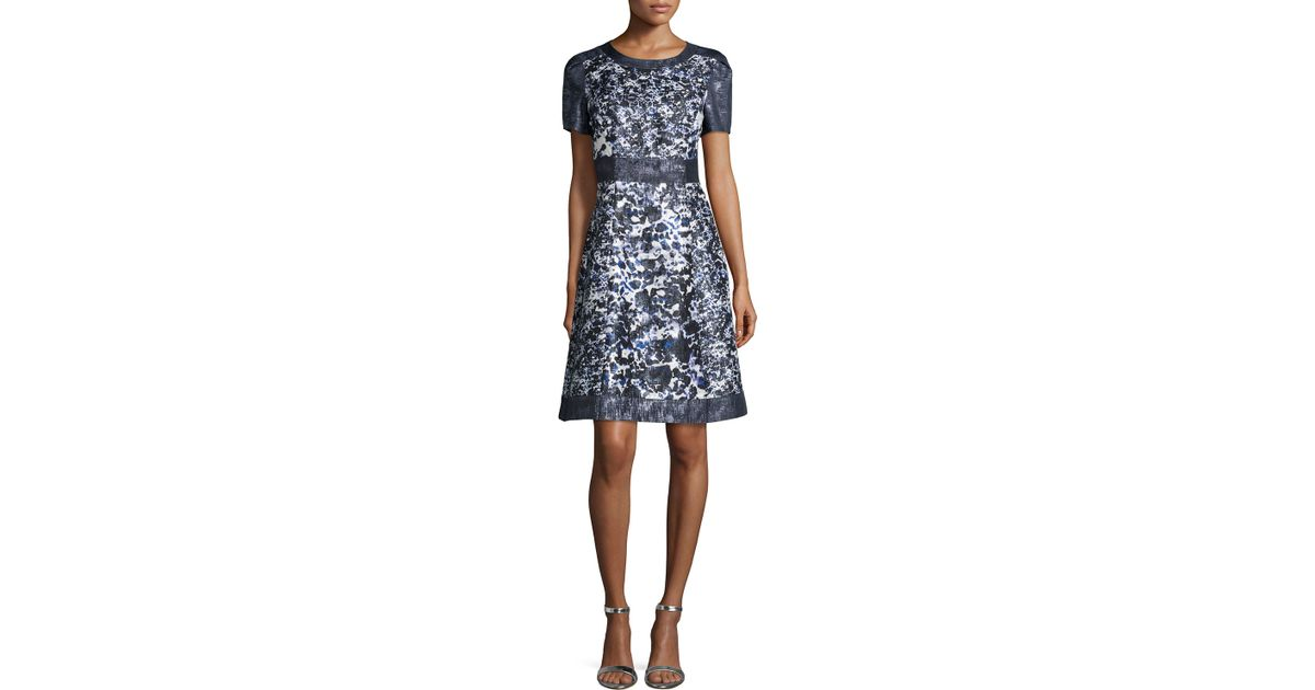 Lyst - Kay Unger Short-sleeve Floral-print A-line Cocktail Dress in ...