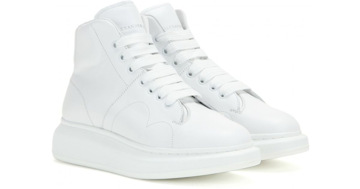 903ee3ae8871 Lyst - Alexander McQueen Larry Leather High-top Sneakers in White
