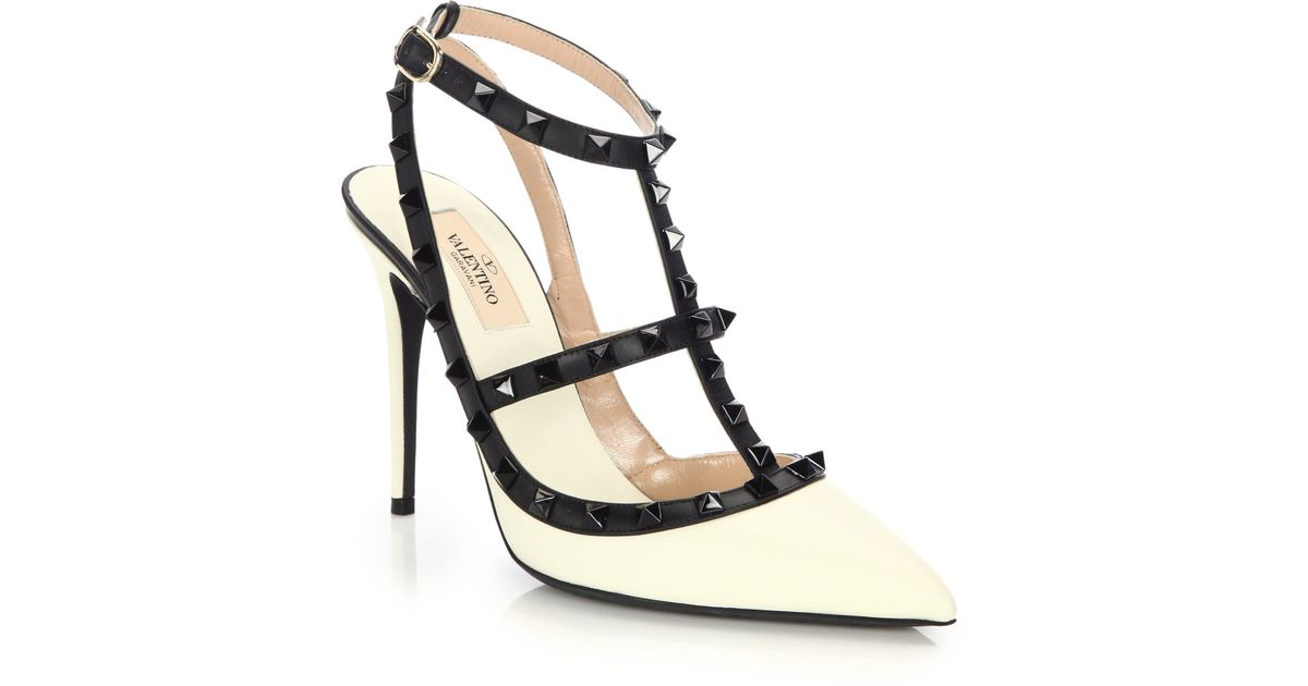 bcce2625568 Lyst - Valentino Rockstud Leather Colorblock Pumps in White