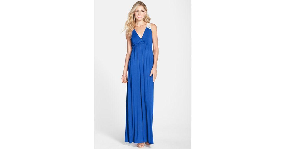 Lyst - Felicity & Coco Crochet Back Jersey Maxi Dress in Blue