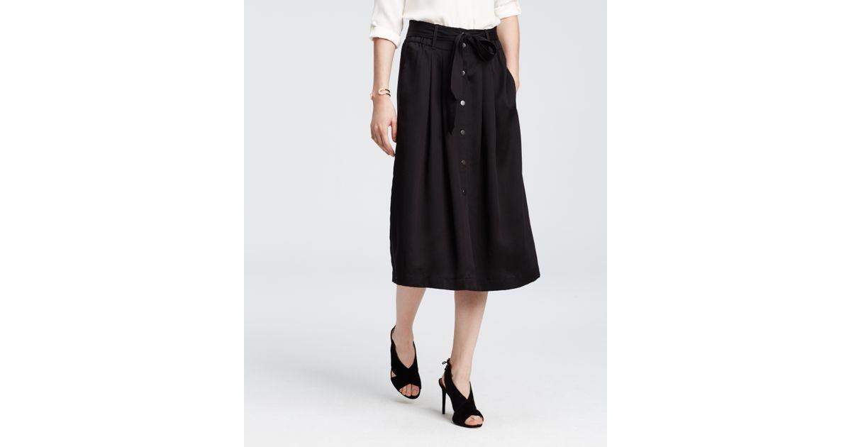 431509eca Ann Taylor Petite Belted Twill Midi Skirt in Black - Lyst