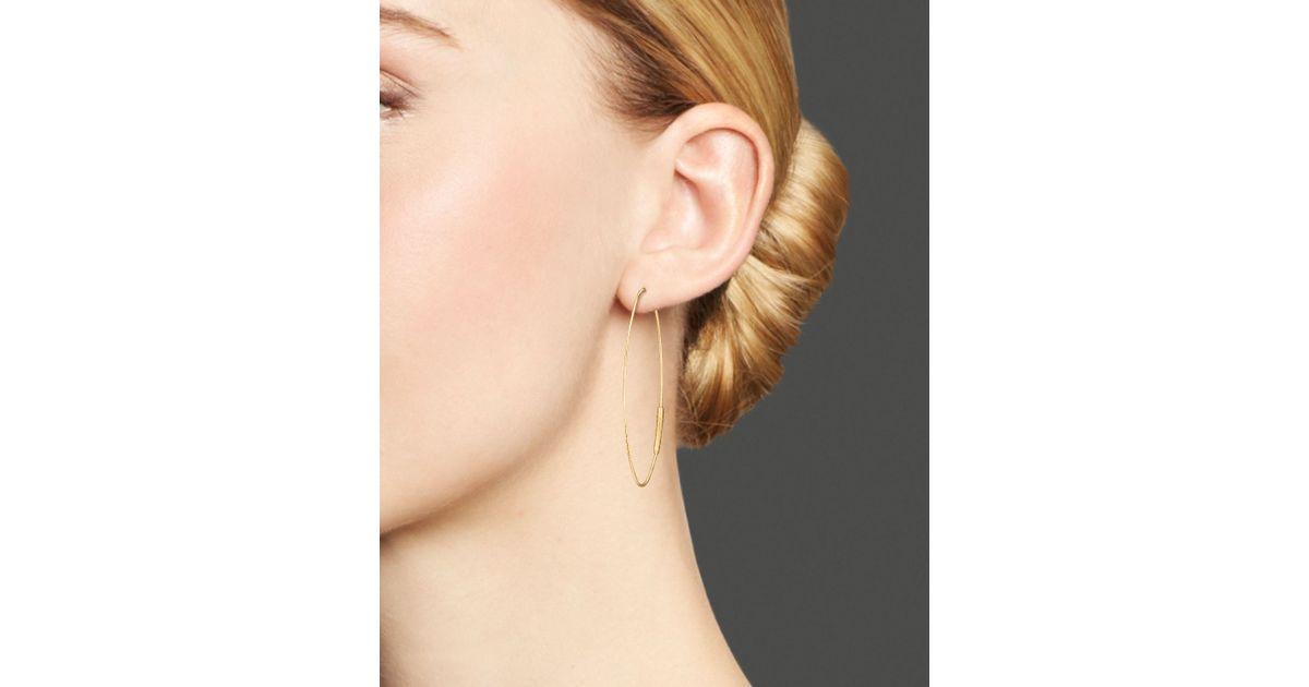 76f5571f8 Lana Jewelry 14k Yellow Gold Small Straight Magic Oval Hoop Earrings in  Metallic - Lyst