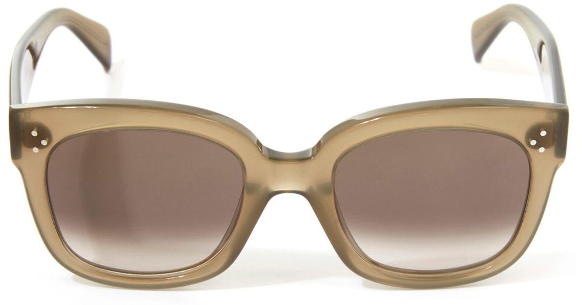 b4f362a7261 Lyst - Céline Khaki New Audrey Sunglasses in Natural
