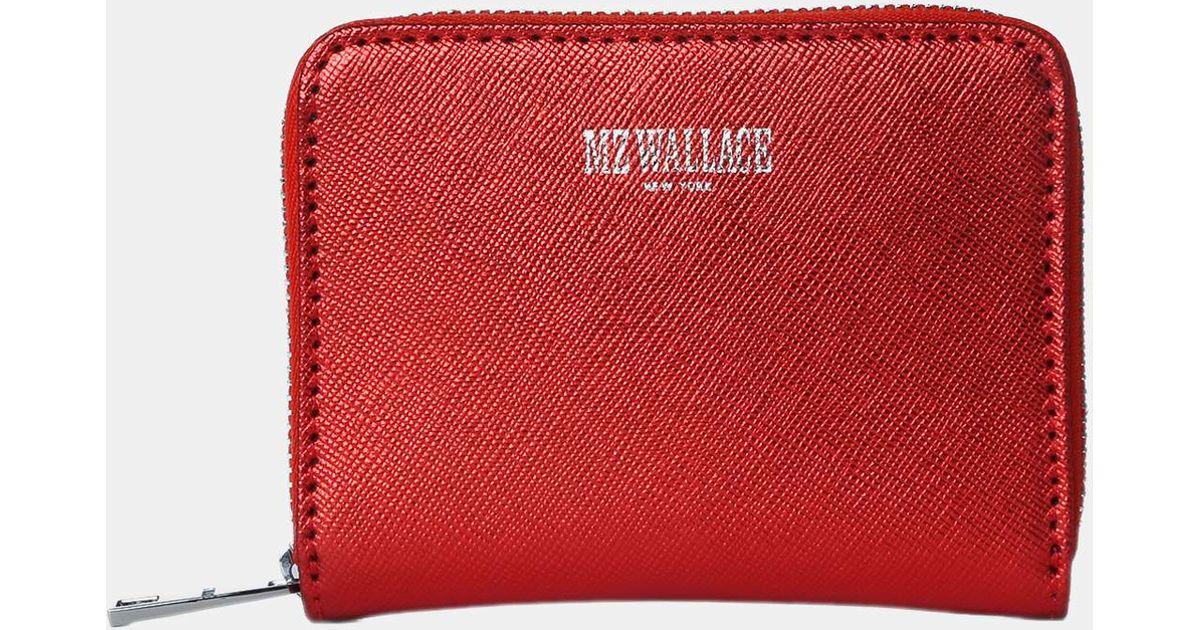 5806b7bc99197f MZ Wallace Lara Wallet Papaya Leather in Red - Lyst