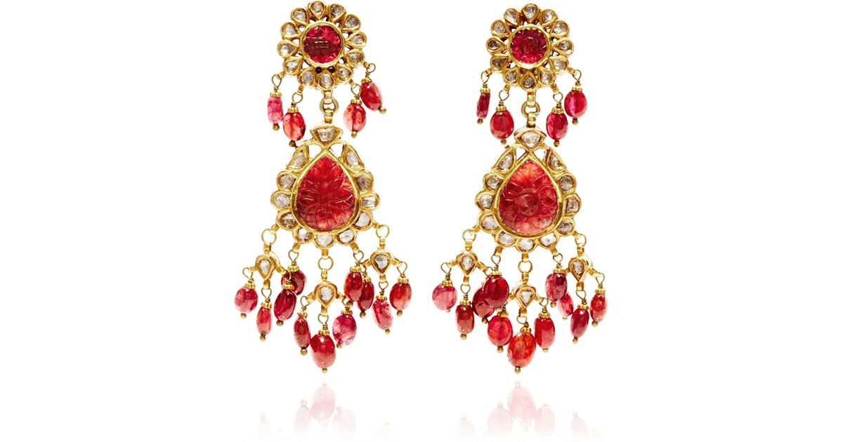 setting indian womens women cz hoop back red drop close earrings dangle screw jewelry stones stud for gold with