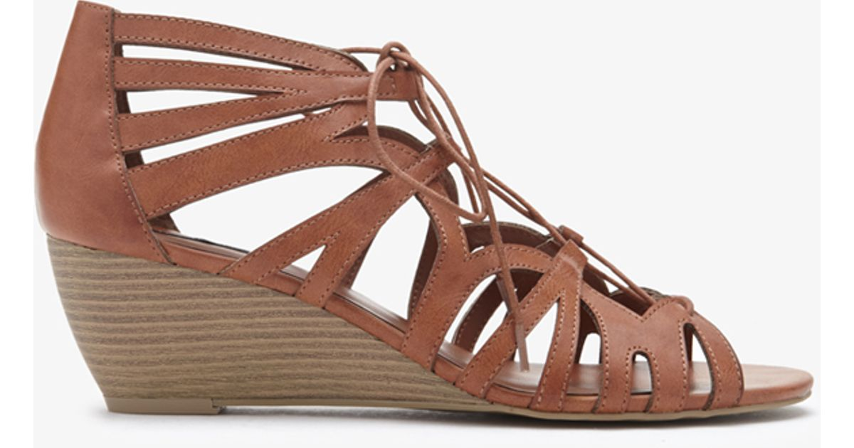 Lyst - Forever 21 Lace-Up Wedge Sandals in Brown 372a89f18186