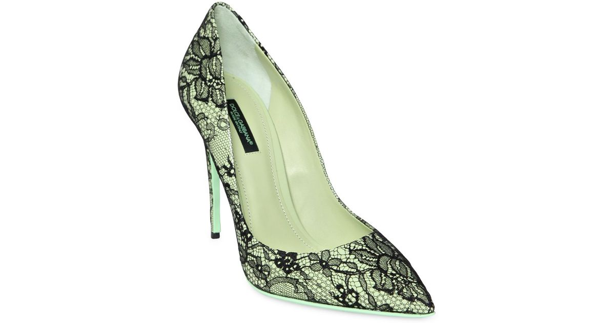 2703bee8500b Lyst - Dolce   Gabbana 105Mm Kate Patent Leather   Lace Pumps in Green
