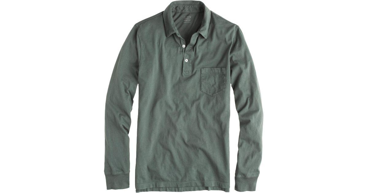 ed775965703c J.Crew Tall Broken-In Long-Sleeve Pocket Polo Shirt in Green for Men - Lyst