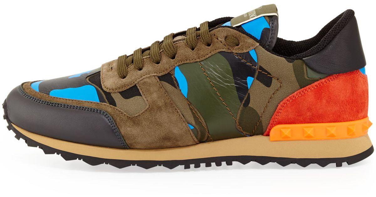 2394efa766971 Valentino Mens Rockrunner Camo Sneaker for Men - Lyst